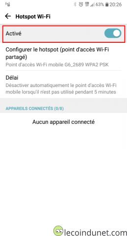 Android - activer partage de connexion internet