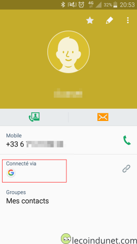 Android - Détails d'un contact