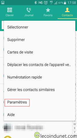 Android - Paramètres des contacts