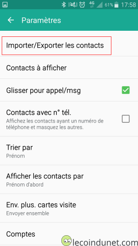 Android - Paramètres - Importer exporter contacts