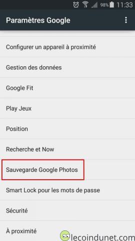 Android - paramètre google - Sauvegarde photos
