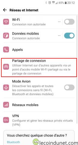 Android - Partage de connexion