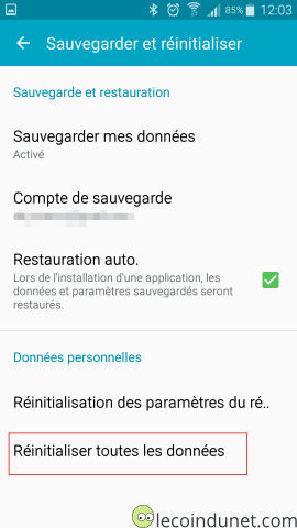 Android - reset