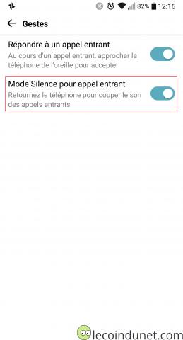 Android - option Retourner le téléphone pour couper la sonnerie