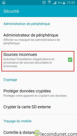Android - Sources inconnues