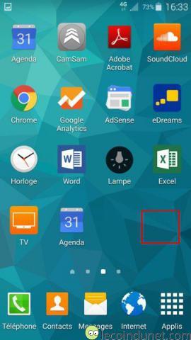 Android 5 - Appuie long écran d'accueil