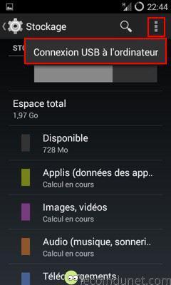 Android - Paramètres connexion USB