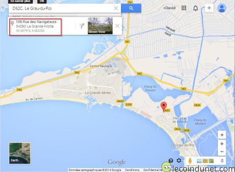 afficher les coordonn es gps d 39 un lieu sur google map lecoindunet. Black Bedroom Furniture Sets. Home Design Ideas