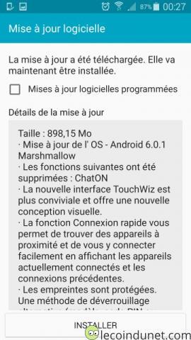 Galaxy S5 - Détails de la mise à jour Android 6