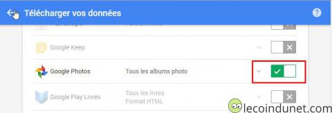 Google takeout - Selection Google Photos