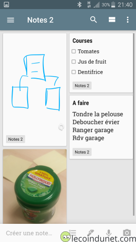 Application Google Keep sur Android