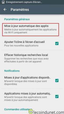 Google Play - Paramètres