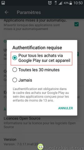 Google Play Store - Paramètres authentification