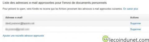 Kindle - Emails approuvés