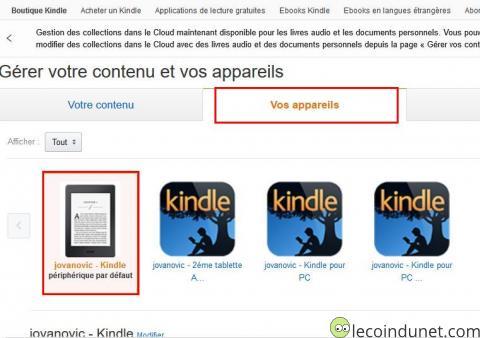 Kindle - gérer contenu et appareils sur Amazon