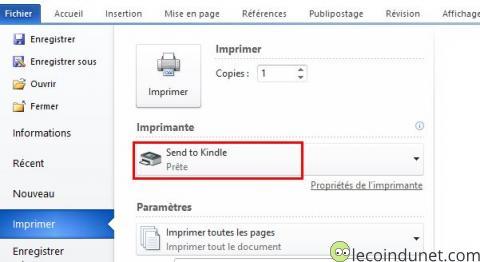 Kindle - Imprimante Send to Kindle