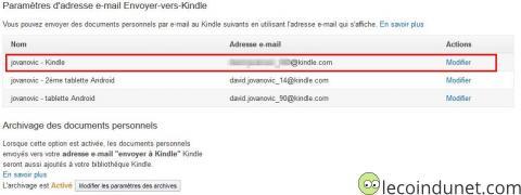 Kindle - paramètres d'adresse mail Kindle