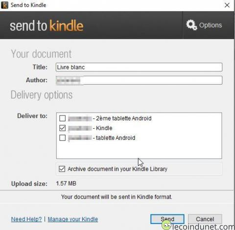 Kindle - Application Send To Kindle