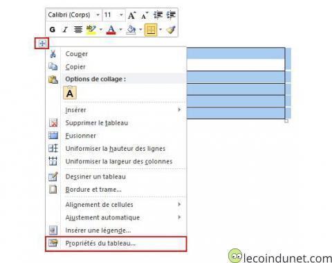 Microsoft Word - Propriété du tableau
