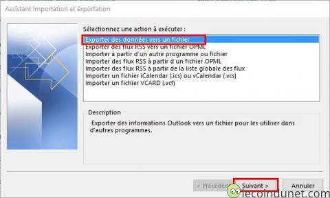 Outlook - Exporter des données vers un fichier