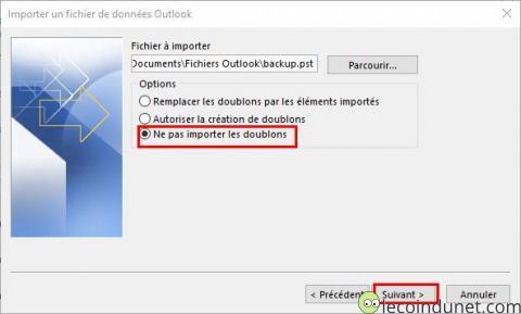 Outlook - Ne pas importer les doublons