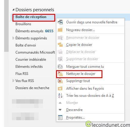 Outlook - Nettoyer le dossier