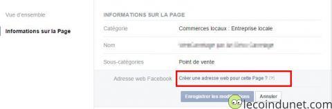 Page facebook - Adresse web facebook