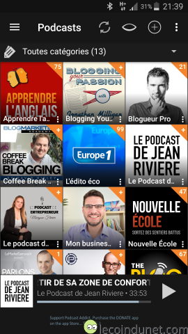 Application Podcast Addict sur Android