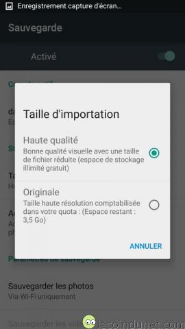 Android - Sauvegarde photos - Taille importation