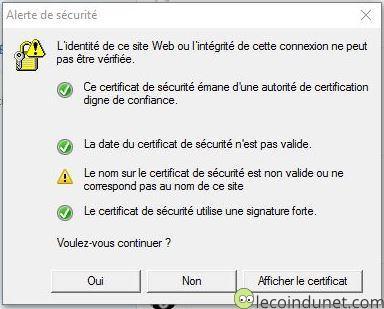 Skype - Alerte certificat