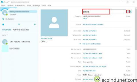 Skype - profil modifier nom complet