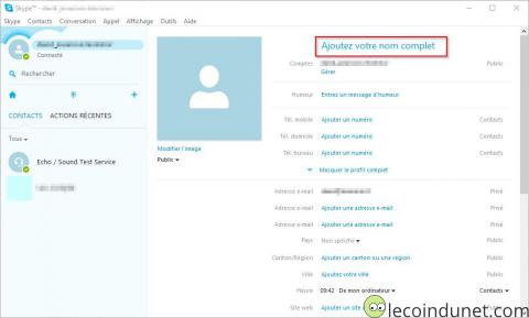 Skype - profil nom complet