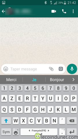 Application WhatApp sur Android