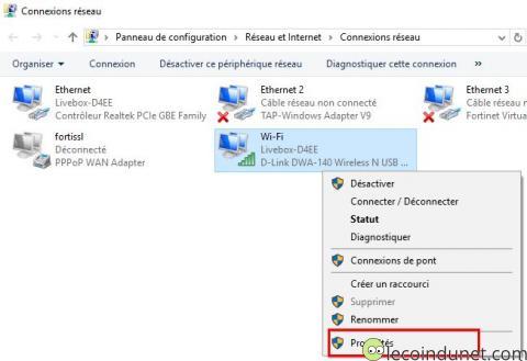 Windows 10 - Connexions réseau - menu Propriété