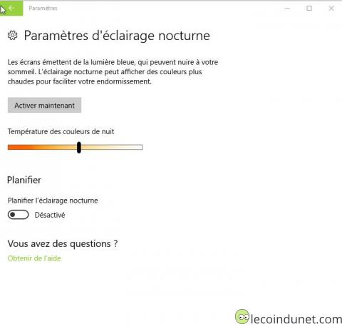 Windows 10 - Eclairage nocturne