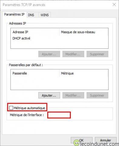 Windows 10 - Modifier la priorité des cartes réseaux avec une métrique