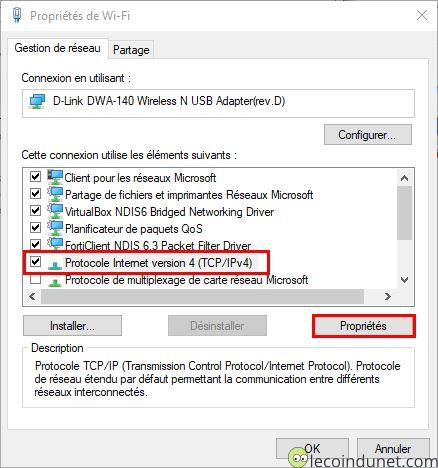 Windows 10 - Protocol IPV4 - Bouton propriété