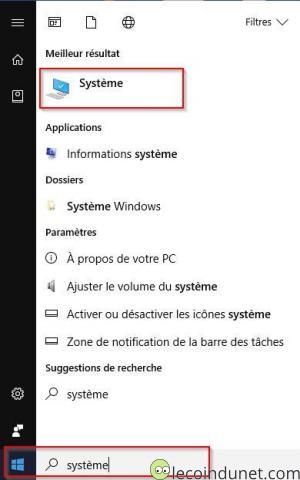Windows 10 - Recherche système