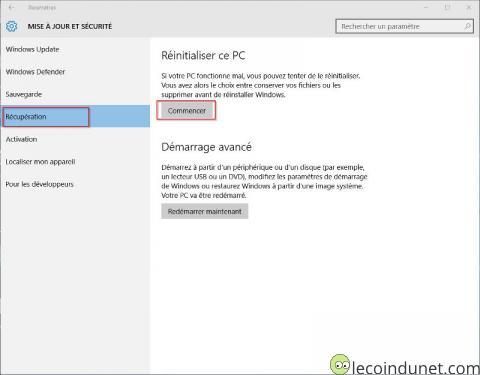 Windows 10 - Récupération et réinitialiser ce PC