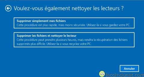 Windows 10 - Supprimer simplement mes fichiers