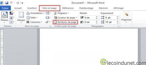 Word - Bouton Bordure de page