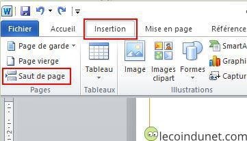 Word - Insertion saut de page