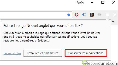 Chrome - Conserver les modifications