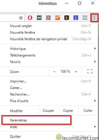 Chrome - menu Paramètres