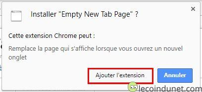 Empty New Tab Page - Ajouter extension