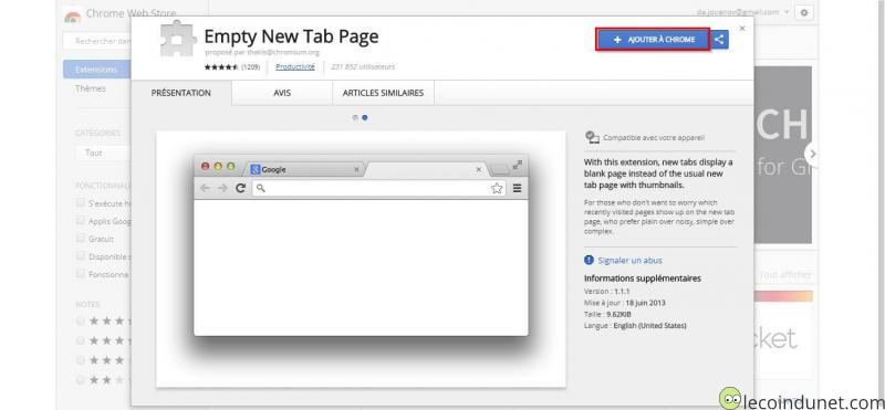 Empty New Tab Page extension