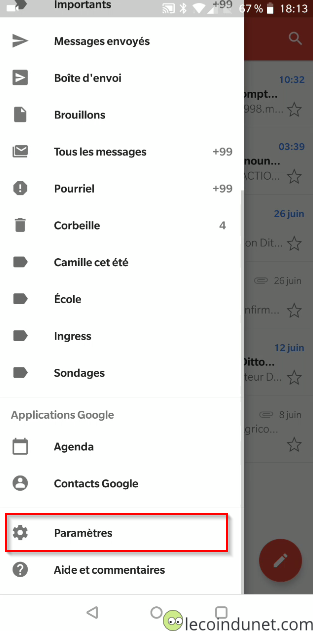 Gmail - Menu paramètres