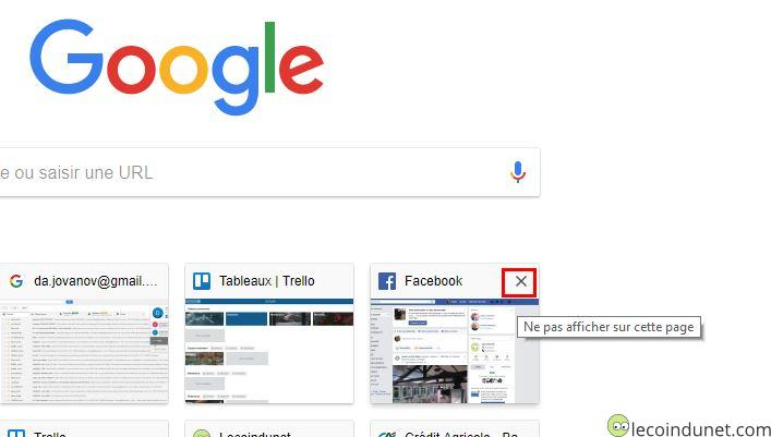 Google Chrome - Supprimer une miniature