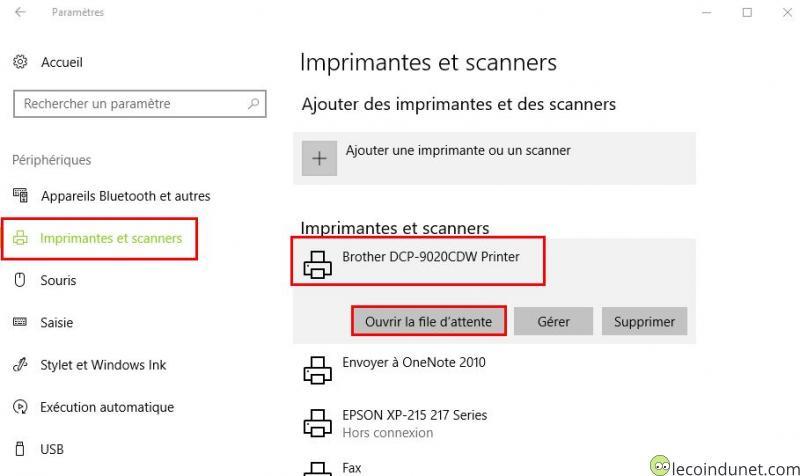 Windows 10 - Périphériques - Ouvrir la file d'attente