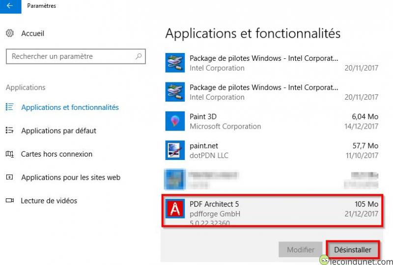 PDF Architect - Désinstaller par ajout suppression de programmes Windows